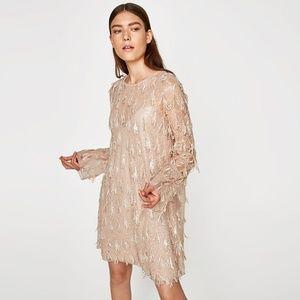 NWT Zara Size S Cocktail Dress Cream RARE Mini
